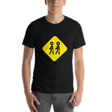 Emoji T-Shirt Store | Children Crossing emoji t-shirt in Black