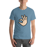 Emoji T-Shirt Store | Pinching Hand, Light Skin Tone emoji t-shirt in Blue