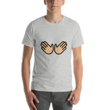 Emoji T-Shirt Store | Open Hands, Medium Light Skin Tone emoji t-shirt in Light gray