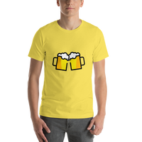 Emoji T-Shirt Store | Clinking Beer Mugs emoji t-shirt in Yellow