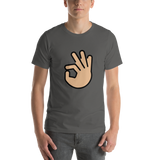 Emoji T-Shirt Store | Ok Hand, Medium Light Skin Tone emoji t-shirt in Dark gray
