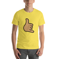 Emoji T-Shirt Store | Call Me Hand, Medium Skin Tone emoji t-shirt in Yellow