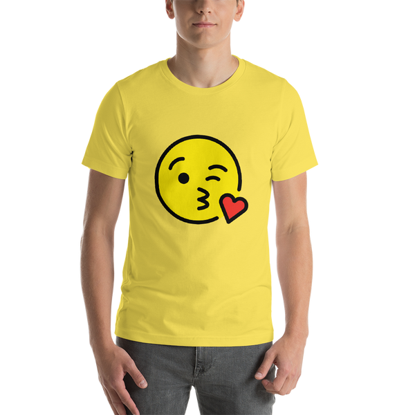 Emoji T-Shirt Store | Face Blowing A Kiss emoji t-shirt in Yellow
