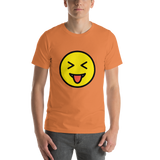 Emoji T-Shirt Store | Squinting Face With Tongue emoji t-shirt in Orange