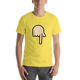 Emoji T-Shirt Store | Backhand Index Pointing Down, Light Skin Tone emoji t-shirt in Yellow