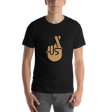 Emoji T-Shirt Store | Crossed Fingers, Medium Skin Tone emoji t-shirt in Black