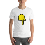 Emoji T-Shirt Store | Backhand Index Pointing Down emoji t-shirt in White