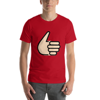Emoji T-Shirt Store | Thumbs Up, Light Skin Tone emoji t-shirt in Red