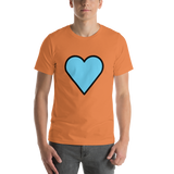Emoji T-Shirt Store | Blue Heart emoji t-shirt in Orange