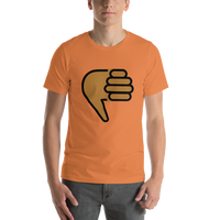 Emoji T-Shirt Store | Thumbs Down, Medium Dark Skin Tone emoji t-shirt in Orange