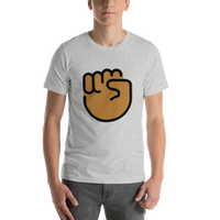 Emoji T-Shirt Store | Raised Fist, Medium Dark Skin Tone emoji t-shirt in Light gray