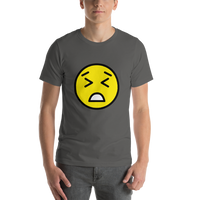 Emoji T-Shirt Store | Persevering Face emoji t-shirt in Dark gray