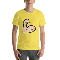 Emoji T-Shirt Store | Flexed Biceps, Light Skin Tone emoji t-shirt in Yellow