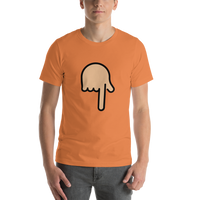 Emoji T-Shirt Store | Backhand Index Pointing Down, Medium Light Skin Tone emoji t-shirt in Orange