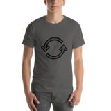 Emoji T-Shirt Store | Counterclockwise Arrows Button emoji t-shirt in Dark gray