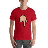 Emoji T-Shirt Store | Backhand Index Pointing Down, Medium Light Skin Tone emoji t-shirt in Red