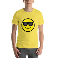 Emoji T-Shirt Store | Smiling Face With Sunglasses emoji t-shirt in Yellow