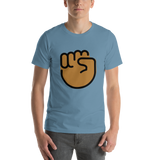 Emoji T-Shirt Store | Raised Fist, Medium Dark Skin Tone emoji t-shirt in Blue