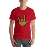 Emoji T-Shirt Store | Love You Gesture, Medium Dark Skin Tone emoji t-shirt in Red