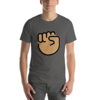 Emoji T-Shirt Store | Raised Fist, Medium Skin Tone emoji t-shirt in Dark gray
