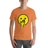 Emoji T-Shirt Store | Face With Hand Over Mouth emoji t-shirt in Orange