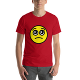 Emoji T-Shirt Store | Pleading Face emoji t-shirt in Red