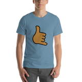 Emoji T-Shirt Store | Call Me Hand, Medium Dark Skin Tone emoji t-shirt in Blue
