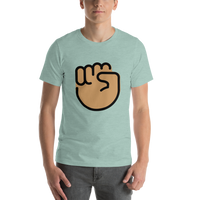 Emoji T-Shirt Store | Raised Fist, Medium Skin Tone emoji t-shirt in Green