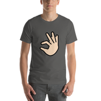 Emoji T-Shirt Store | Pinching Hand, Light Skin Tone emoji t-shirt in Dark gray