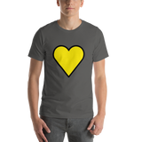 Emoji T-Shirt Store | Yellow Heart emoji t-shirt in Dark gray