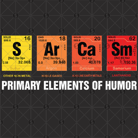 Sarcasm Primary elements of humor, Sarcasm svg, Sarcasm t-shirt, adult humor, humor tee, mom humor, humor svg, Sarcasm humor, periodic table shirt, periodic elements, periodic table svg