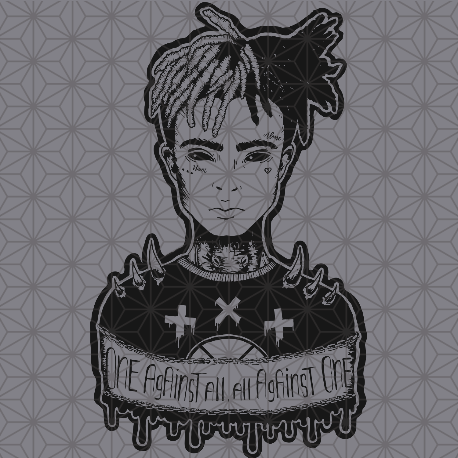 One against all svg, XxxTentacion art svg print, XxxTentacion art, XxxTentacion svg, XxxTentacion poster, rip XxxTentacion, XxxTentacion shirt, XxxTentacion poster, XxxTentacion logo, music svg, music lover svg, music gift, svg files for cricut, svg files