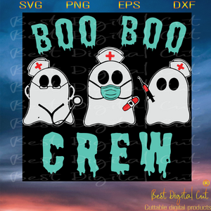 Boo Boo Crew, Halloween Svg, For Halloween, Halloween Design, Happy Halloween, Halloween Gift, Halloween Shirt, Halloween Boo, Boo Svg, Boo Nurse, Face Mask Boo, Boo Nurse Svg, Cute Boo