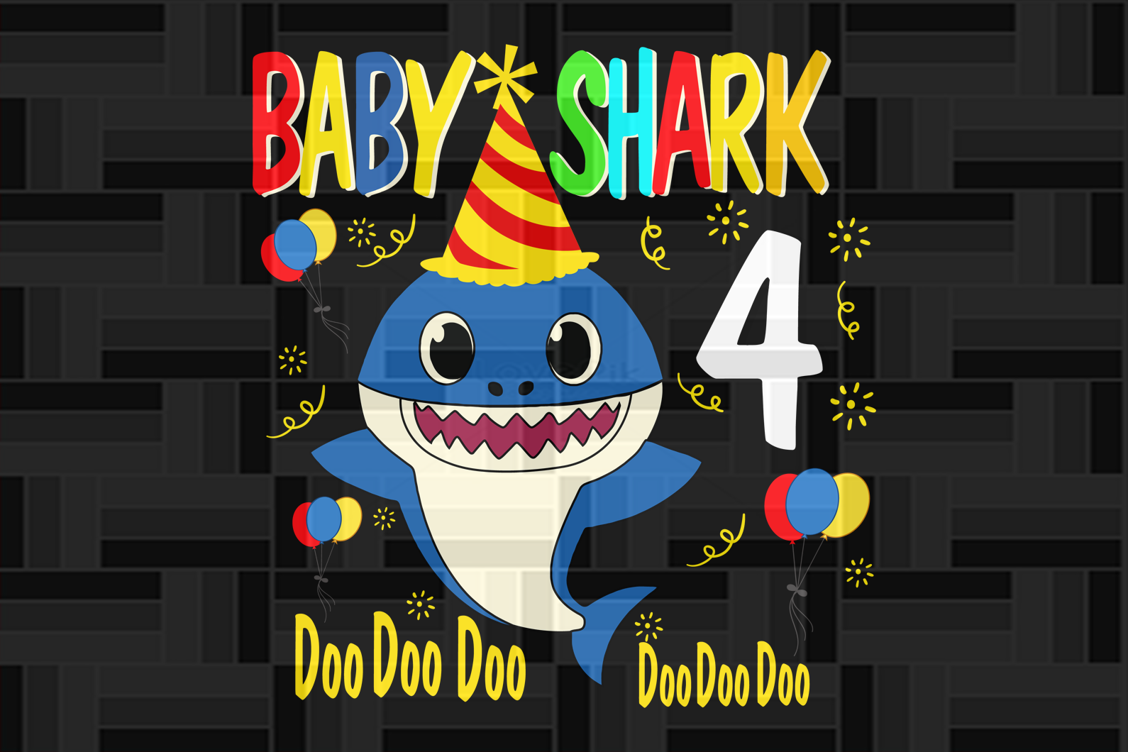 Baby shark four doo doo, born in 2016, 2015 svg, 4th birthday svg, 4th birthday gift, 4th birthday shirt, birthday anniversary, birthday party, shark svg, shark silhouette, cute shark, gift for kids, gift from parents, digital file, vinyl for cricut,