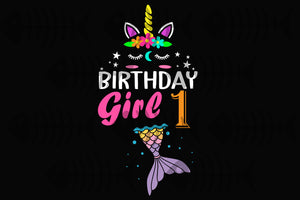 Birthday girl 1, born in 2020, 2018 svg, 1st birthday svg, 1st birthday gift, 1st birthday party, birthday anniversary, birthday shirt, birthday girl, gift from parents, unicorn print, mermaid silhouette, digital file, vinyl for cricut,