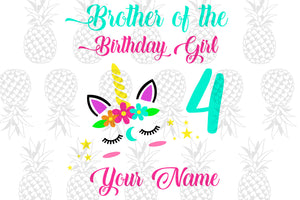 Brother of birthday girl 4,4th birthday,birthday anniversary,Love brother life, brother life, brother svg, brother gift, brother shirt, daisy print, peace symbol, svg cut files, svg clipa