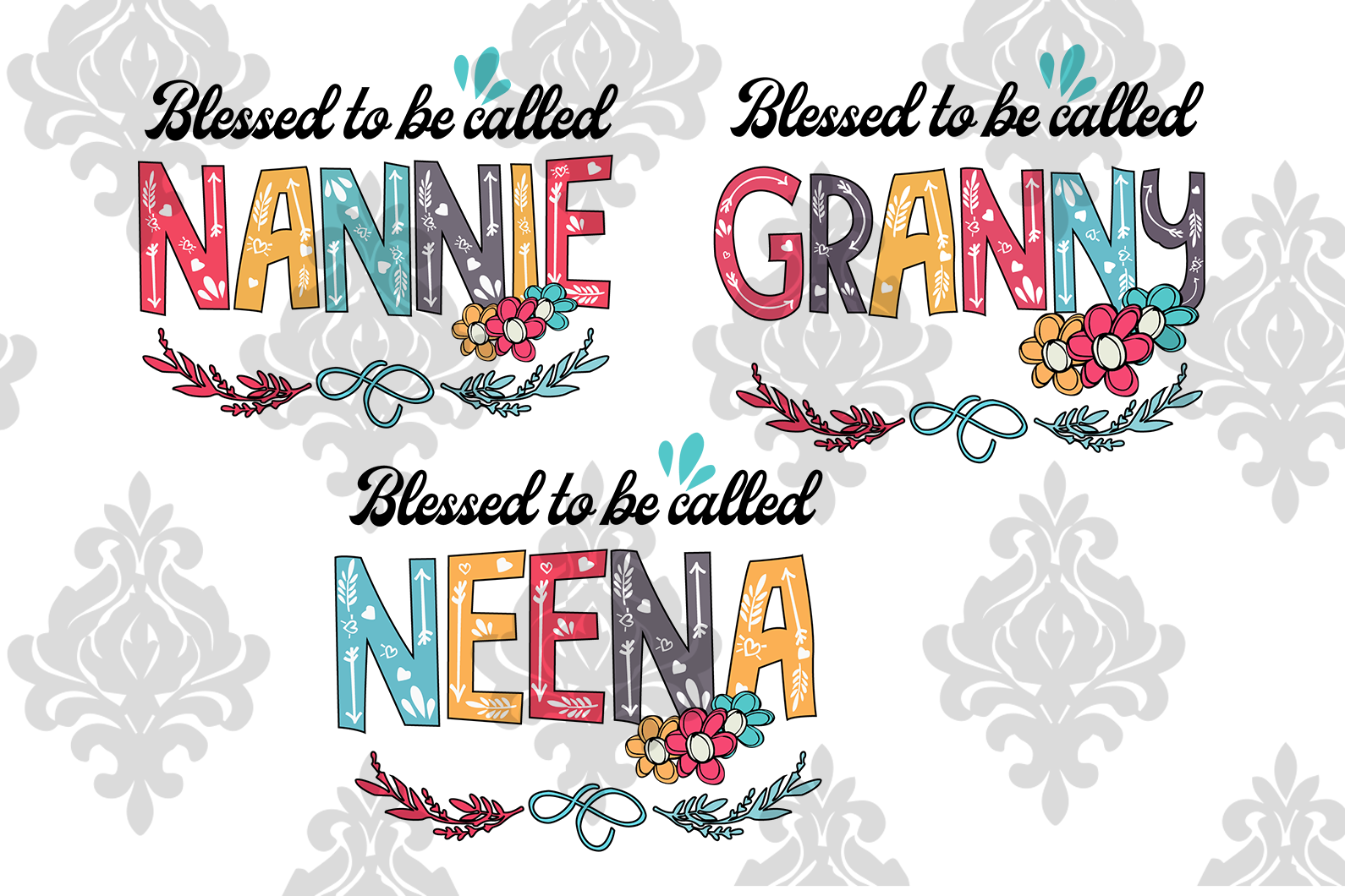 Blessed To Be Called Nannie Svg Granny Svg Neena Svg Mother S Day Svg Best Digital Cut
