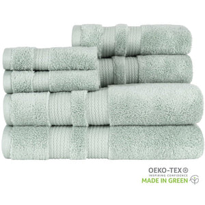 "Load image into Gallery viewer, ""Made in Green"" Eco Zero Twist Cotton Super Plush 6 Piece Towel Set"