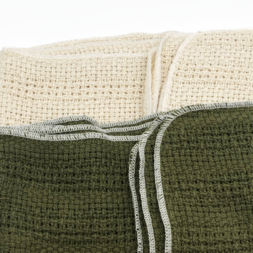 Made in the USA 100% Cotton Kitchen Towel - Set of 2 - American Made Kitchen Towels - American Home USA -  Green and Natural Set