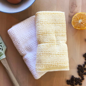 Made in the USA 100% Cotton Kitchen Towel - Set of 2 - American Made Kitchen Towels - American Home USA -  Yellow and White Set