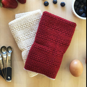 Load image into Gallery viewer, Made in the USA 100% Cotton Kitchen Towel - Set of 2 - American Made Kitchen Towels - American Home USA - Red and Natural