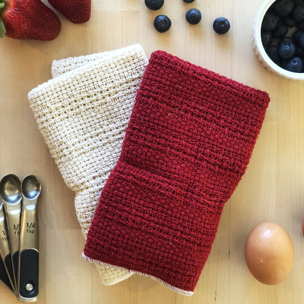 Made in the USA 100% Cotton Kitchen Towel - Set of 2 - American Made Kitchen Towels - American Home USA - Red and Natural