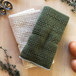 Load image into Gallery viewer, Made in the USA 100% Cotton Kitchen Towel - Set of 2 - American Made Kitchen Towels - American Home USA -  Green and Natural Set