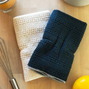 Load image into Gallery viewer, Made in the USA 100% Cotton Kitchen Towel - Set of 2 - American Made Kitchen Towels - American Home USA -  Navy and Natural