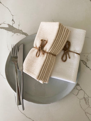 Made in the USA 100% Cotton Table Napkins - Set of 4 American Made - American Home USA - Natural (Set of 4)