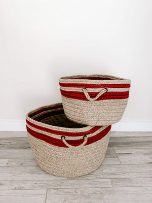 Made in the USA Baskets - Stripes - Cabin Red - American Home USA