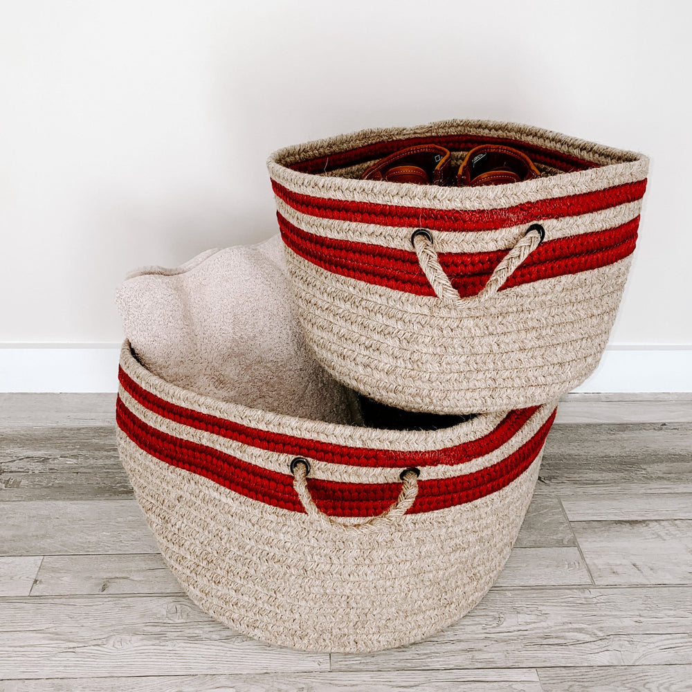 Load image into Gallery viewer, Made in the USA Baskets - Stripes - Cabin Red - American Home USA
