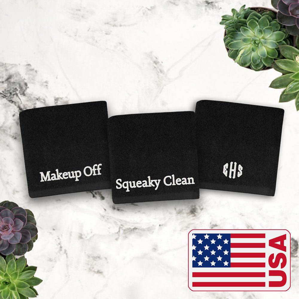 New! Made in the USA Monogrammed Makeup Towels (Set of 2)