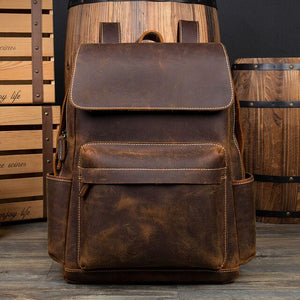 Crazy Horse Cowhide Men Backpack