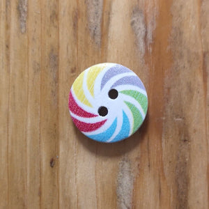 Button - Rainbow Swirl Button - Round